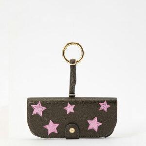 IPHORIA アイフォリア Glasses Case with Bag Holder - Olive Green With Pink Stars & hook in gold サングラスケースウィズバッグホルダー オリーブグリーンウィズピンクスターズ&フックインゴールド サングラス