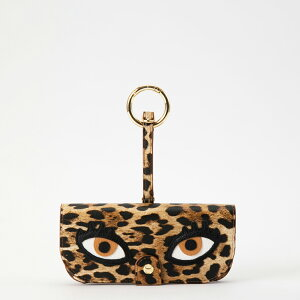 IPHORIA アイフォリア Glasses Case with Bag Holder - Leo Print with Eyes & hook in gold サングラスケースウィズバッグホルダー レオプリントウィズアイズ&フックインゴールド サングラス サングラスカバー