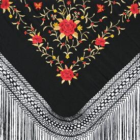 【セットで¥25,000!】P8084 刺繍入りマントン ブラック×レッド・ゴールド【フラメンコ用品】