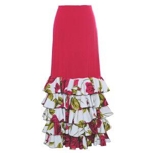 DF-2001 5段フリルマーメイドスカート チェリーピンク/ホワイト・チェリーピンク花柄【ファルダ】【フラメンコ】