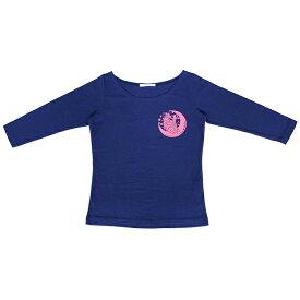 【NEWロゴ】七分袖 フロントプリントTシャツ ネイビー/ピンク【フラメンコ用品】【ダンス衣装】『1点のみメール便可』トップス 練習用 レッスンウエア