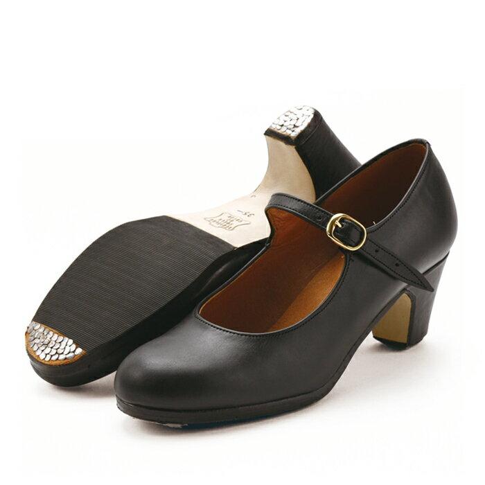 〈サリダ〉黒革ワンベルト【普通幅(B)】【靴】【フラメンコシューズ】【初心者向け】