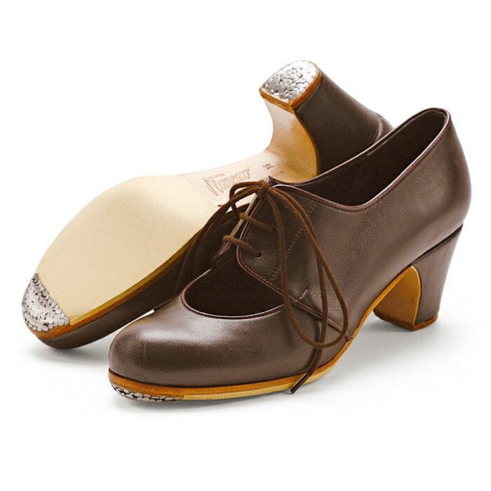 〈ドン・フラメンコ〉セミプロ・マラゲーニャ/ダークブラウン革紐【普通幅(B)】【靴】【フラメンコシューズ】