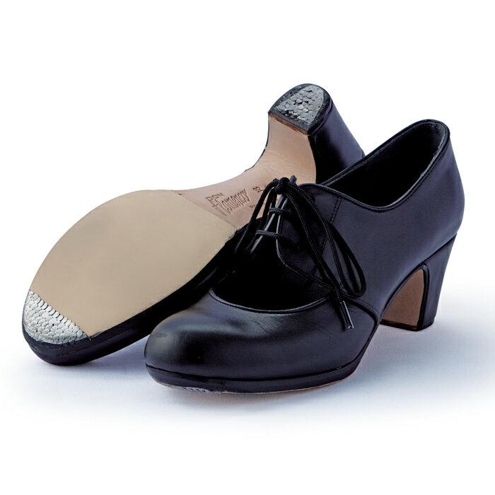 〈ドン・フラメンコ〉セミプロ・マラゲーニャ/ブラック革紐【普通幅(B)】【靴】【フラメンコシューズ】