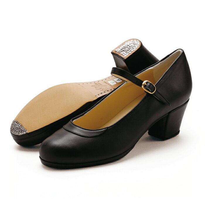 〈ジェブラ〉プロ/黒革【フラメンコシューズ】【幅広(C)】【靴】