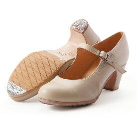 〈メンケス〉セミプロ/ベージュ革【幅広(C)】【靴】【フラメンコシューズ】サパトス zapatos