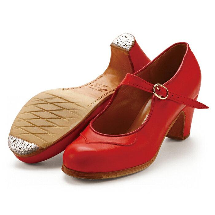 〈アマジャ〉セミプロ/レッド革【幅広(C)】【靴】【フラメンコシューズ】
