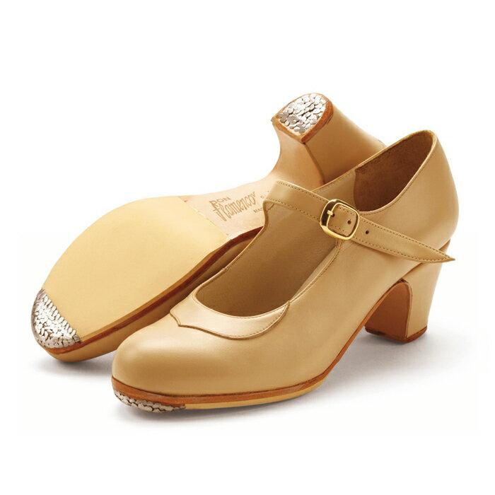 〈ドン・フラメンコ〉セミプロ・ベージュ革【普通幅(B)】【靴】【フラメンコシューズ】