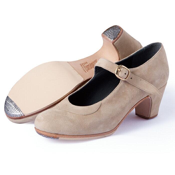 〈ドン・フラメンコ〉セミプロ/ベージュ・スエード【普通幅(B)】【靴】【フラメンコシューズ】
