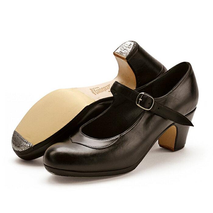 〈ドン・フラメンコ〉セミプロ/黒革【普通幅(B)】【靴】【フラメンコシューズ】