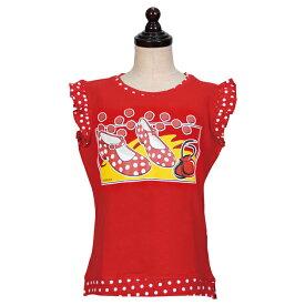 【現品特価】スペイン製 フリル付きノースリーブシャツ キッズ用 フリルスリーブ Tシャツ / サパトス柄「1点のみメール便可」トップス 練習用 子ども こども レッスンウエア