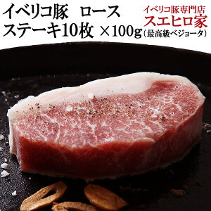 イベリコ豚 ロース ステーキ 10枚×100g (合計 1kg ) イベリコ 最高級 ベジョータ ランク 赤身ステーキ 赤身肉 お歳暮 ギフト お肉 豚肉