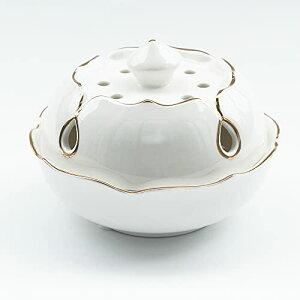 白上金ハス 香炉 陶器 仏具 お香立て おしゃれ 渦巻き 線香 コーン型 に ホワイト W11cm CH-KOR016
