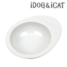 【猫】【水飲み】【器】iDog&iCatオリジナルドゥーエッグフードボウル無地ホワイト。商品画像1。