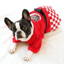 【浴衣】【犬】【服】MIX12.0kgのらいなすくんは赤色のXXLを着用