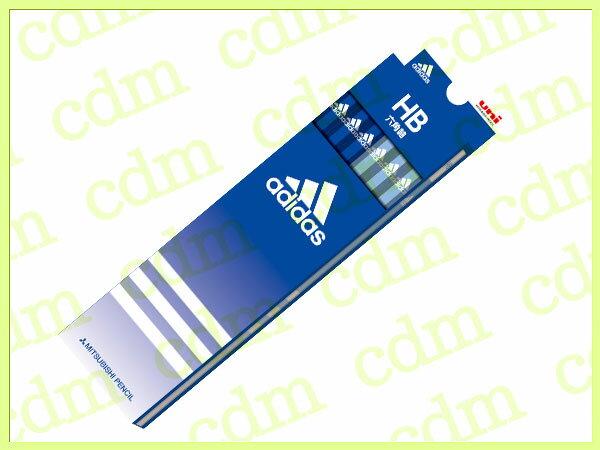 ●アディダス かきかた鉛筆 六角軸 硬度HB 紙箱 青 ブルー adidas