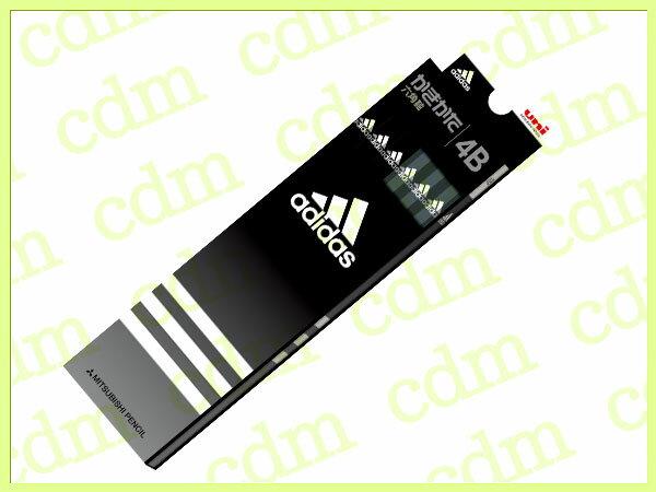●アディダス かきかた鉛筆 六角軸 硬度4B 紙箱 黒 ブラック adidas