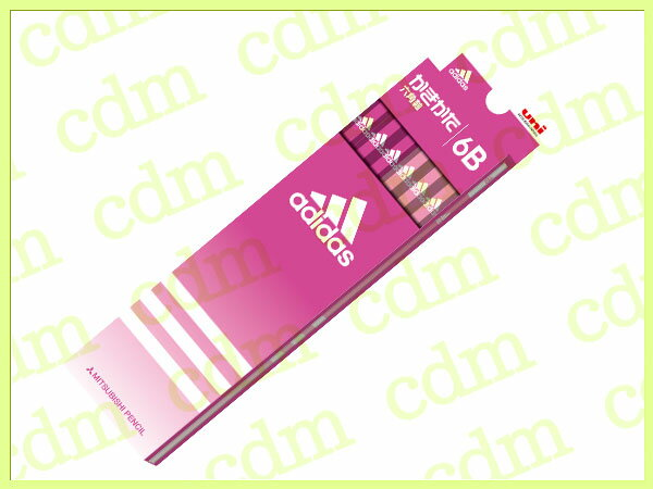 ●アディダス かきかた鉛筆 六角軸 硬度6B 紙箱 ピンク adidas