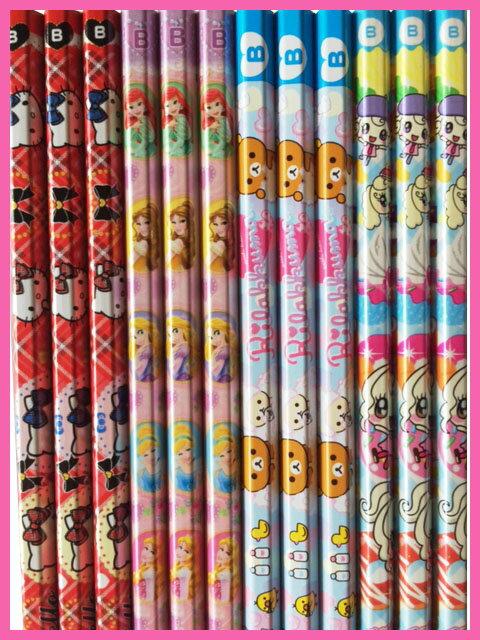 ◇キャラクターミックス鉛筆12本女の子Bセット ひらがな・カタカナ・漢字・アルファベット名入れ無料
