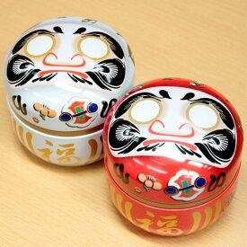 茶筒 願掛け だるま缶 (目・絵馬シール付き) 100g用缶 1缶 鈴子 だるま