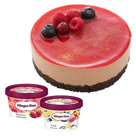 【2〜4名用】ホールケーキ(冷凍)ショコラルージュ 4号 ハーゲンダッツ バニラ・ストロベリー ミニカップ 2個 セット 送料無料 お誕生日 プレゼント ckc-as
