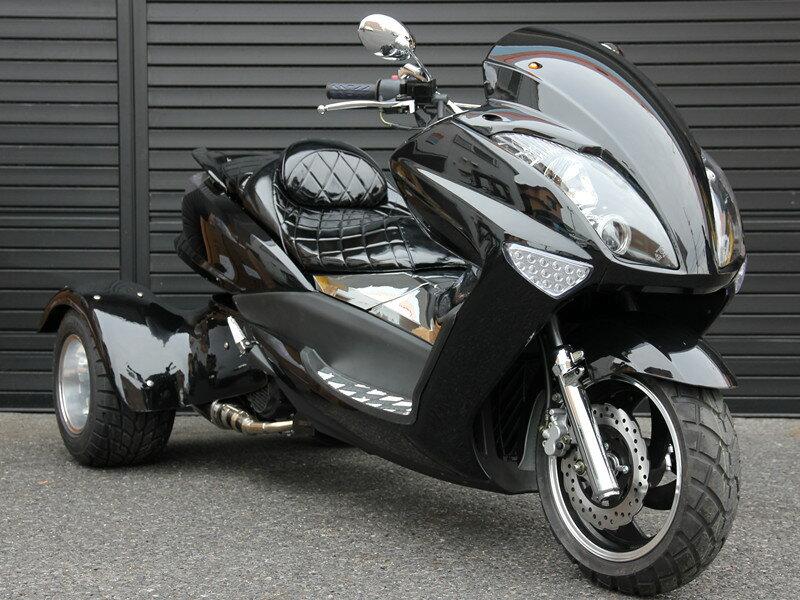 トライク200 三輪バイク前後LEDライト200cc三輪トライクスクータートライク二人乗普通免許高速可パールブラックHL200XB キット商品 西濃運輸デポ止発送