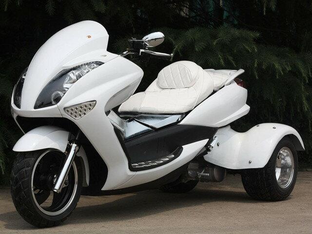 トライク200 三輪バイク前後LEDライト200cc三輪トライクスクータートライク二人乗普通免許高速可 白 HL200XW キット商品 西濃運輸デポ止発送