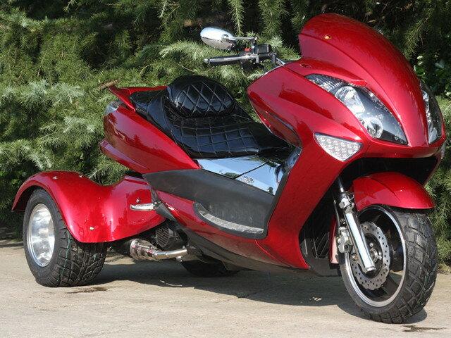 トライク200 三輪バイク前後LEDライト200cc三輪トライクスクータートライク二人乗普通免許高速可 ワインレッド HL200XR キット商品 西濃運輸デポ止発送