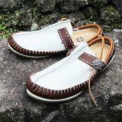 モカシンサンダルスムースホワイトブラウンメンズ【靴シューズレザー革FUNNY】