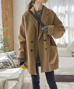 ウール100%ダブルフェイスチェスターコートジャケットレディースベンチコートレディス秋冬高級アウターコート暖かい寒冷地旅行20代30代40代50代yimo20902