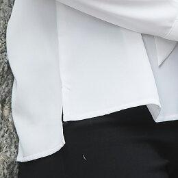 ボウタイ襟ブラウストップスカジュアルチュニックシャツロングシャツ体型カバーゆったりボリューム袖オーバーサイズビッグシルエット可愛いカジュアルシンプル無地長め大きいサイズ20代30代40代50代レディース秋冬秋冬あす楽tops00023