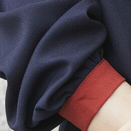 スタンドカラーチュニックシャツロングシャツ体型カバーゆったりボリューム袖オーバーサイズビッグシルエット可愛いカジュアルシンプル無地長め大きいサイズ20代30代40代50代レディース秋冬秋冬あす楽tops00027