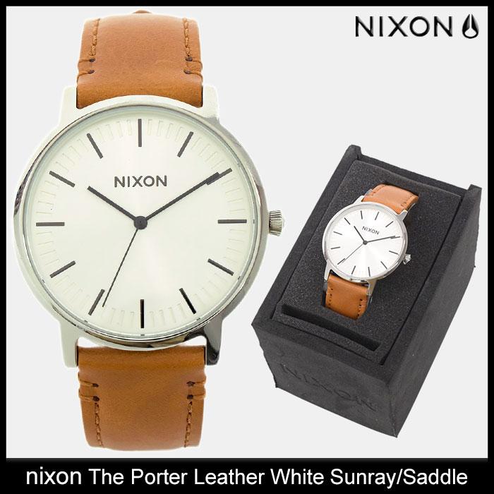 ニクソン nixon 腕時計 メンズ ザ ポーター レザー ホワイト サンレイ/サドル(nixon The Porter Leather White Sunray/Saddle 時計 メンズ 男性用 NA10582442)