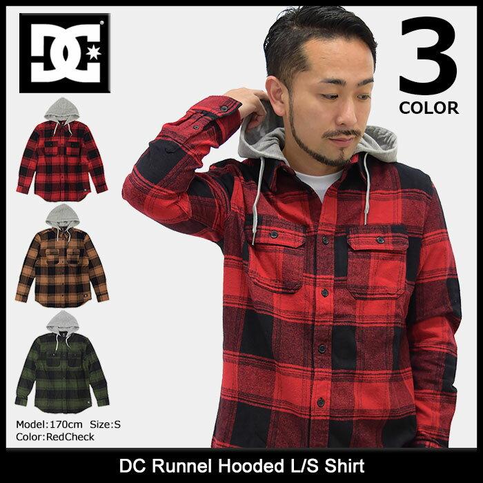 ディーシー DC シャツ 長袖 メンズ ランネル フーデッド(dc Runnel Hooded L/S Shirt チェック フード カジュアルシャツ トップス メンズ 男性用 EDYWT03162)