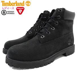 【日本正規品】ティンバーランド Timberland ブーツ キッズモデル レディース対応サイズ ジュニア 6インチ プレミアム ウォータープルーフ Black Nubuck(timberland 12907 Junior 6inch Premium Boot ブラック 黒 ヌバック 防水 女性用 レディース靴)
