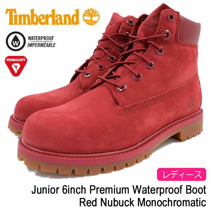 【日本正規品】ティンバーランド Timberland ブーツ キッズモデル レディース対応サイズ ジュニア 6インチ プレミアム ウォータープルーフ Red Nubuck Monochromatic(A13HV Junior 6inch Premium Waterproof Boot レッド 赤 ヌバック 防水 女性用 LADYS・靴 レディース靴)
