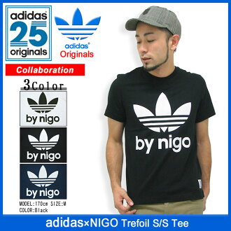 Adidas originals x NIGO adidas Originals by NIGO trefoil T shirt short sleeve collaboration originals (ADIDAS Adidas Trefoil S/S Tee Niger W name Originals T shirts mens men's M69147 M69148 M69149) ice filed icefield