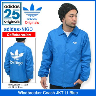 Adidas originals x NIGO adidas Originals by NIGO coach windbreaker jacket light blue collaboration originals (the Originals jackets mens men's ADIDAS Adidas Windbreaker Coach JKT Lt.Blue Niger W name M34755)