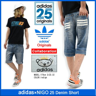 Adidas originals x NIGO adidas Originals by NIGO shorts mens 25 denim collaboration with originals (adidas×NIGO 25 Denim Short Niger W name Originals shorts shorts happen bottoms S24529) ice filed icefield