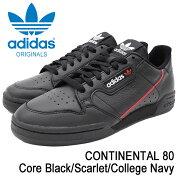 アディダスadidasスニーカーメンズ男性用コンチネンタル80CoreBlack/Scarlet/CollegeNavyオリジナルス(adidasCONTINENTAL80Originalsブラック黒SNEAKERMENS・靴シューズSHOESB41672)icefiledicefield