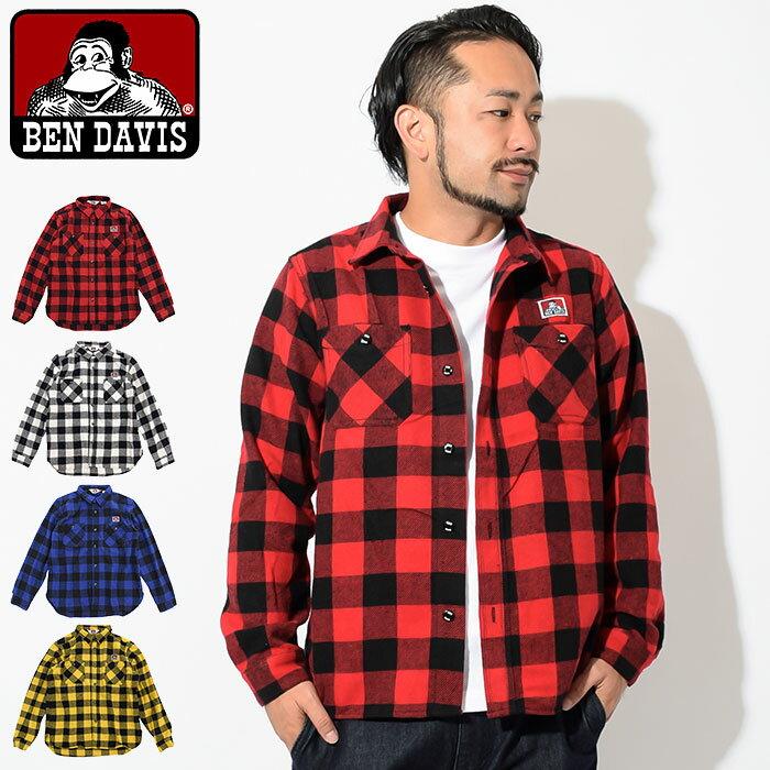 ベンデイビス BEN DAVIS シャツ 長袖 メンズ チェック(BENDAVIS G-8780056 Check L/S Shirt ワークシャツ カジュアルシャツ トップス ベン デイビス ベン・デイビス ベンデービス) ice filed icefield