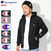チャンピオンChampionパーカージップアップメンズC3-C119(ChampionC3-C119FullZipHoodieBASICベーシック日本企画無地ワンポイントCロゴCマークフードフーディスウェットシャツZipupHoodyParkerトップスメンズ男性用)