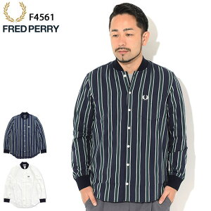 フレッドペリーFREDPERRYシャツ長袖メンズシアサッカーボンバーネック日本企画(FREDPERRYF4561SeersuckerBomberNeckL/SShirtJAPANLIMITEDカジュアルシャツトップスフレッドペリーフレッド・ペリー)