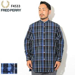 フレッドペリーFREDPERRYシャツ長袖メンズバンドカラーオーバーサイズ日本企画(FREDPERRYF4533BandCollarOversizedL/SShirtJAPANLIMITEDビッグシルエットカジュアルシャツトップスフレッドペリーフレッド・ペリー)