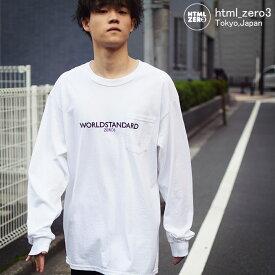 エイチティエムエル ゼロスリー HTML ZERO3 カットソー 長袖 メンズ キャロル ワーカー(html zero3 Carol Worker Crew ビッグシルエット オーバーサイズ ポケット Tシャツ ティーシャツ T-SHIRTS トップス エイチティーエムエル HTML-CT218)