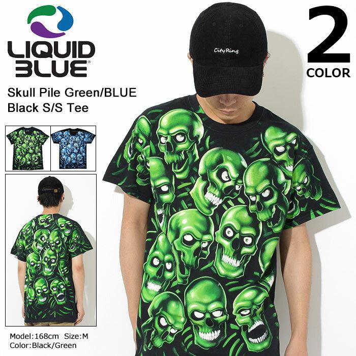 【6月上旬入荷予定】リキッド ブルー LIQUID BLUE Tシャツ 半袖 メンズ スカル パイル グリーン/ブルー ブラック(LIQUIDBLUE Skull Pile Green Black S/S Tee ティーシャツ T-SHIRTS カットソー トップス メンズ 男性用)[M便 1/1] ice filed icefield