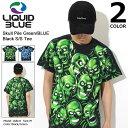 リキッド ブルー LIQUID BLUE Tシャツ 半袖 メンズ スカル パイル グリーン/ブルー ブラック(LIQUIDBLUE Skull Pile Green Black S/S T…