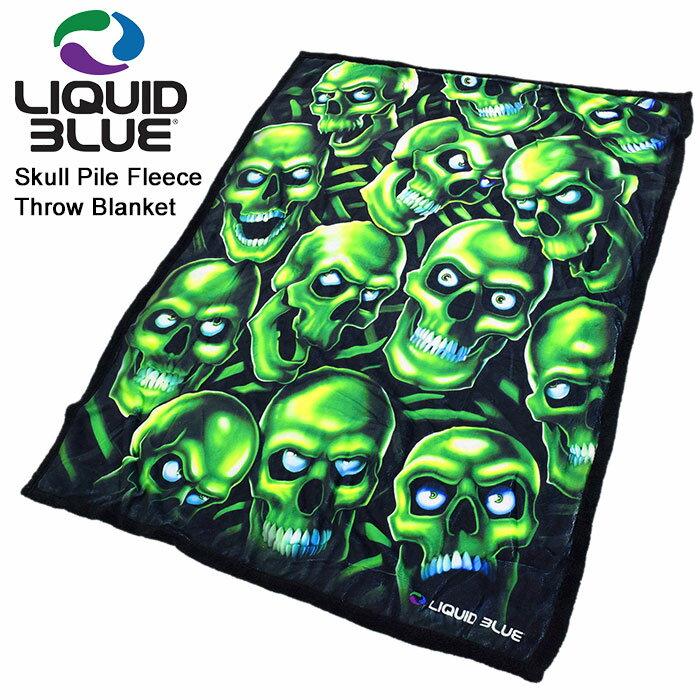 リキッド ブルー LIQUID BLUE ブランケット スカル パイル フリース スロー(LIQUIDBLUE Skull Pile Fleece Throw Blanket ひざ掛け メンズ 男性用 81015)