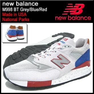 新平衡新平衡运动鞋 M998 BT 灰/蓝/红在美国男人 (男人) (NEWBALANCE M998 BT 灰色和蓝色和红色的制造,在美国国家公园运动鞋运动鞋运动鞋男装鞋鞋鞋运动鞋 M998 BT) 提起冰原的冰