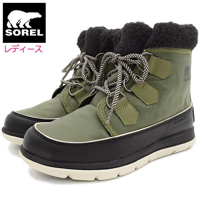ソレル SOREL ブーツ レディース 女性用 ソレル エクスプローラー カーニバル Hiker Green/Black ウィメンズ(Sorel SOREL EXPLORER CARNIVAL WOMENS 防水 Boot Boots スノー・ブーツ ウィンター・ブーツ 靴・ブーツ Ladys オリーブ NL3040-371)